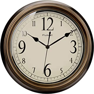 Plumeet Large Retro Wall Clock - 13'' Non Ticking Classic Silent Clocks Decorative Kitchen Living Room Bedroom - Battery O...