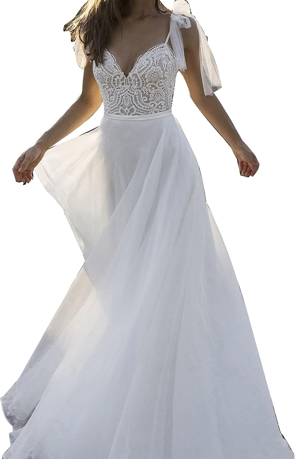 LISA.MOON Women's Spaghetti Backless Wedding Gown Lace Applique Beach Bridal Dress