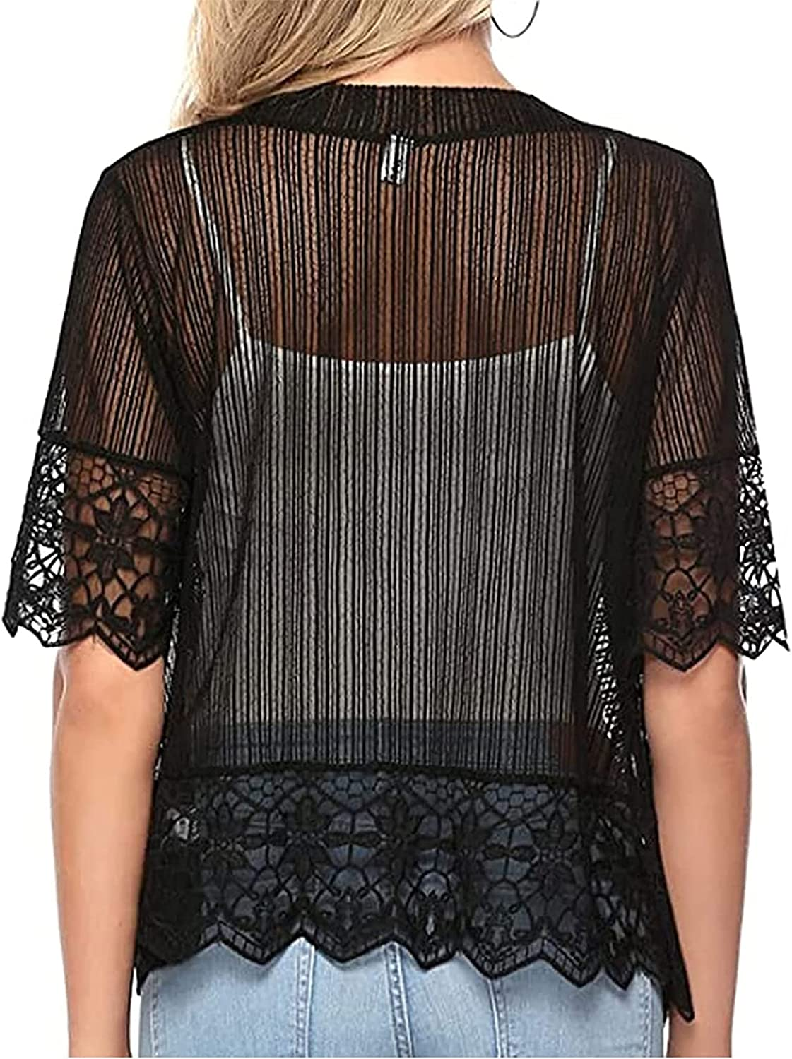 Womens Short Shrug Open Front Short Sleeve Sheer Cardigan Lace Patchwork Sheer Bolero Cover Up Cropped mesh Cardigans