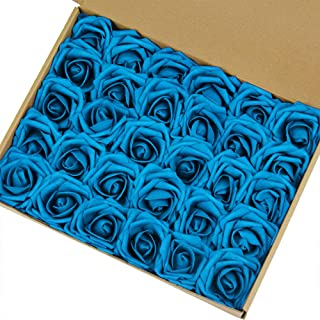 Marry Acting Artificial Flower Rose, 30pcs Real Touch Artificial Roses for DIY Bouquets Wedding Party Baby Shower Home Decor (Peacock Blue) …