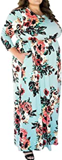 Enggras Women's 3/4 Sleeve Floral Printed High Waist Casual Beach Party Long Maxi Dress with Pockets