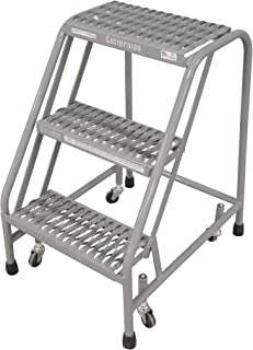 Cotterman 1003N1820A3E10B3C1P1 All Welded Ready to Use Rolling Steel Safety Ladder, 3-Step, 30