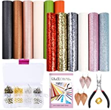 Caydo 12 Pieces Leather Earring Making Kit Include 4 Style Faux Leather Sheet, an Instructions and Tools for DIY Jewelry Earrings Craft Making Supplies(6.3