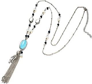 Onnea Long Silver Beaded Chain Black Stone Pendant Tassel Necklace for Women