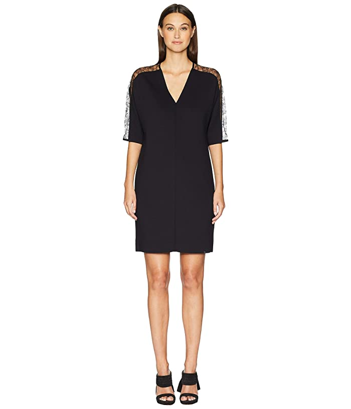 ESCADA Dalacenas Lace Inset Short Sleeve Dress (Black) Women