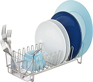 iDesign Classico Metal Dish Drainer Rack with Silverware Drainer for Drying Glasses, Utensils, Bowls, Plates, Mugs, 12.5