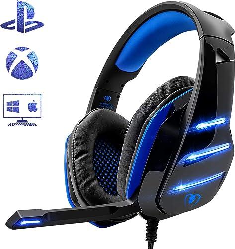Beexcellent Auriculares para Videojuegos para PS4, Sonido Envolvente de Graves, Auriculares Profesionales con micrófo...