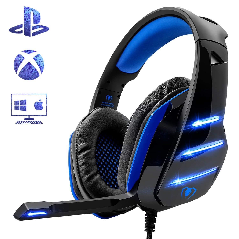 Beexcelente - Auriculares de Diadema para PS4, Auriculares para Juegos con micrófono para Xbox One, portátil, Tableta, Mac y teléfono Inteligente (Azul): Amazon.es: Electrónica