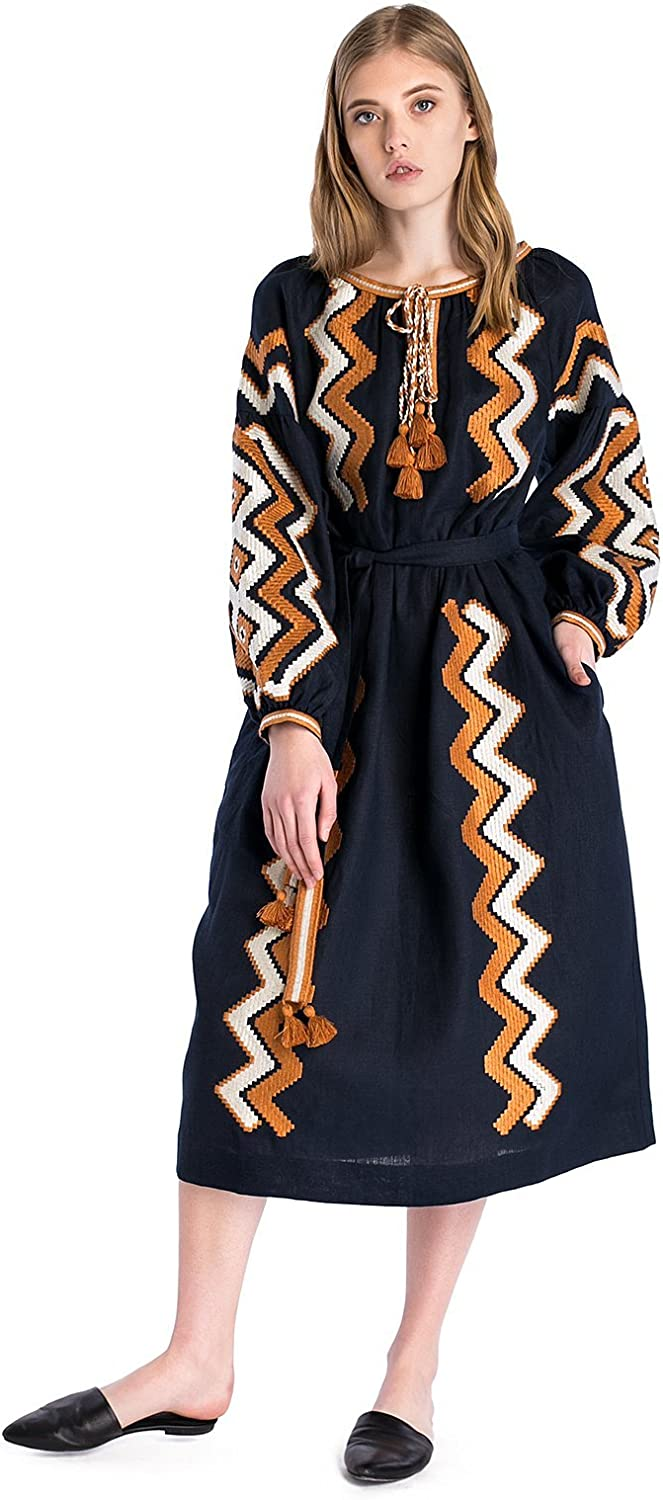ETNODIM Woman Ukrainian Vyshyvanka Ethnic Embroidered Boho Linen Dress Long Sleeve FullLength bluee Dress