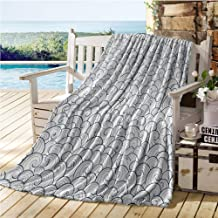 Mademai Nautical Decor Swaddle Blanket,Sea Waves Abstract Swirl Stream Stormy Weather River Decorating Illustration,Kids Blankets 60