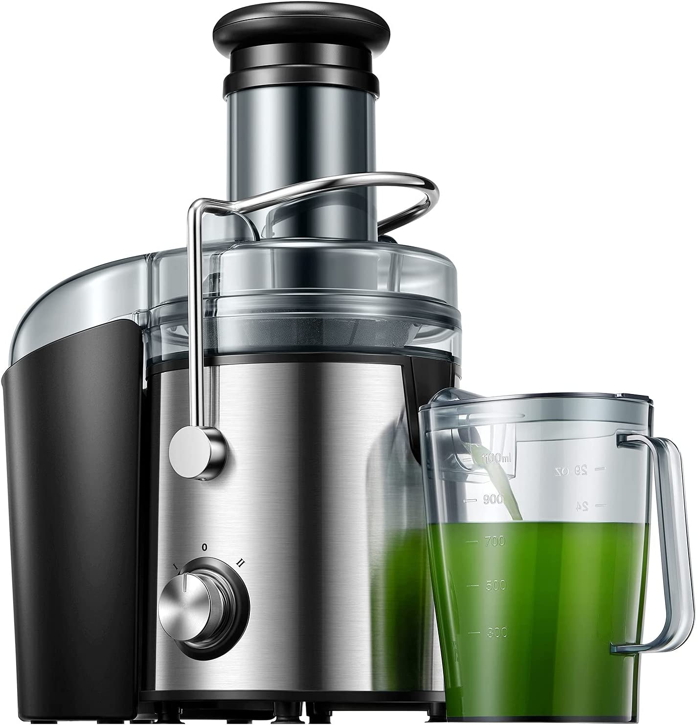 Juicer, 1000W Juicer Machine Whole Fruit and Vegetables Easy to Clean, Dual Speed Juicer Extractor with Higher Juice and Nutrition Yield, Anti-Drip Function, Stainless Steel, Silver