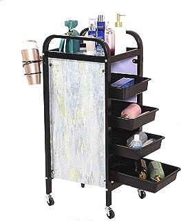 多機能 美容師トロリー、ビューティースパ 機器保管カート スタイリスト美容師のために、36×32×85cm (Color : Black)