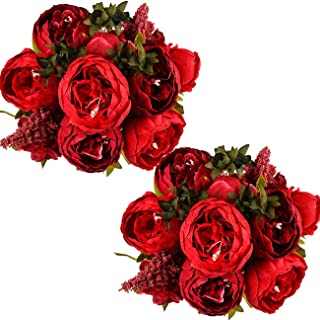 Ogrmar Vintage Artificial Peony Silk Flowers Bouquet for Decoration (Red x2)