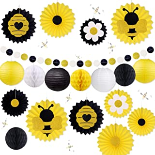 Honey Bee Party Decorations, Bumble Bee Baby Shower Hanging Paper Fans Lanterns Tissue Honeycomb Ball Glitter Circle Dot Garland Black and Yellow for Birthday Wedding