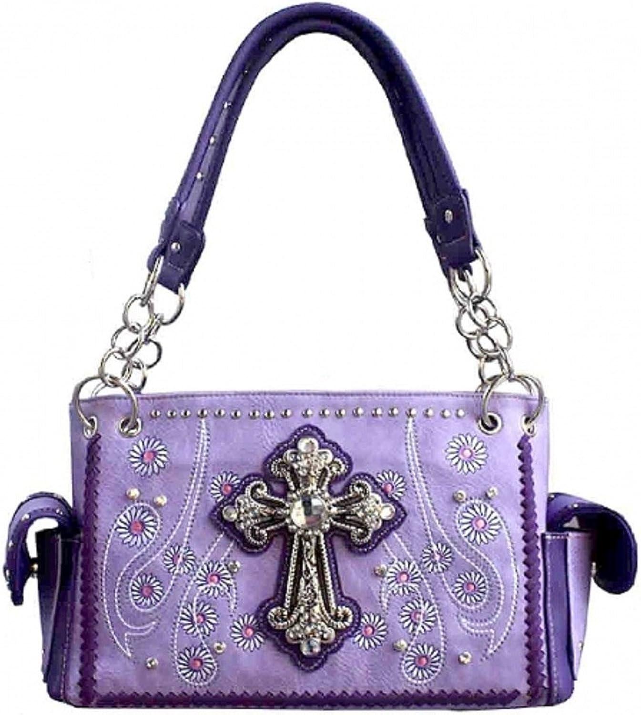 Concealed Carry Rhinestone Studded Cross Western Purse (Purple)