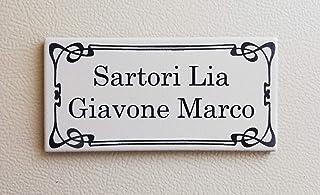 Mosaici Guizzo Targhetta in Ceramica incisa+Cornice/_Tema Famiglia