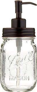 Industrial Rewind Mason Jar soap Dispenser - 16oz Clear Pint Ball Mason Jar with Oil Rubbed Bronze Soap Dispenser