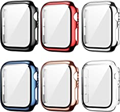 6 Pack Case for Apple Watch 42mm Series 3/2/1 with Tempered Glass Screen Protector, Haojavo Plated Hard PC Ultra-Thin Scra...