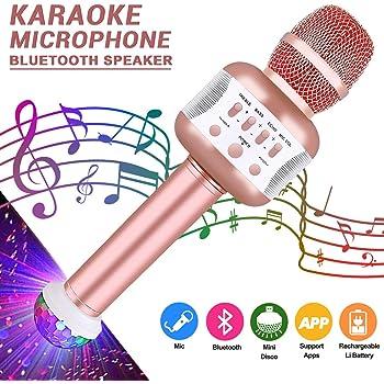 3.5mm AUX Color Rosado Compatible con PC//iPad//Smartphone Bater/ía de 2600mAh Soporta TF Tarjeta ERAY Micr/ófono Inal/ámbrico Karaoke 3 en 1 Micr/ófono Bluetooth