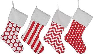 HUAN XUN 4 Burlap Christmas Stockings Decoration - 4 Pcs Set Print & Fur Collar Fireplace Decor Large