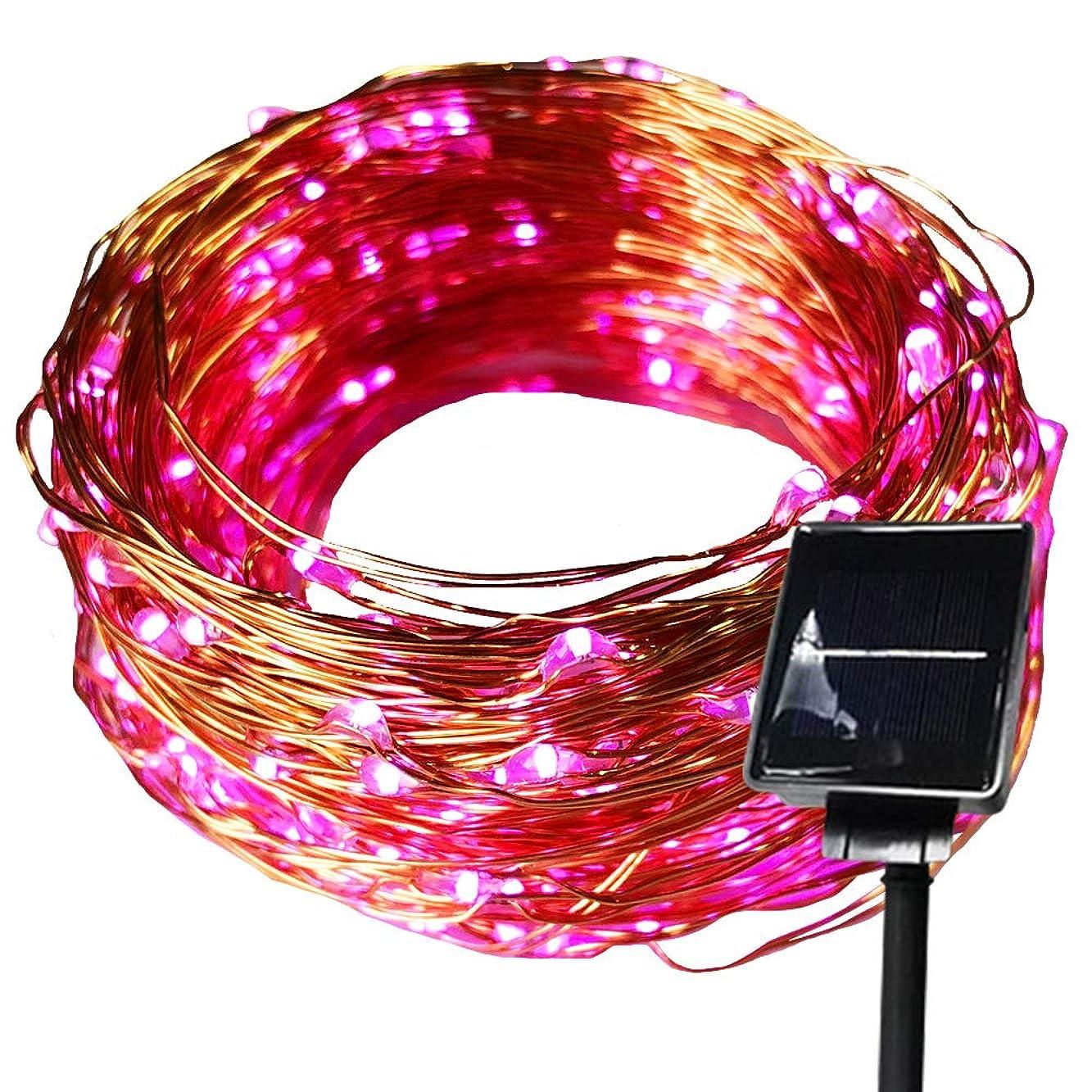 信念エキサイティング土地ソーラージュエリーライト LED ソーラーイルミネーション 100球 クリスマス 屋外 防水仕様 イルミネーション (ピンク)