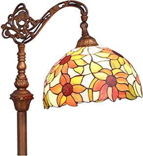 Bieye Orange Sunflower L10515 Tiffany Style Stained Glass Reading Floor Lamp with 12 inch Wide Shade, Light Direction is Adjustable, 65 inch Tall