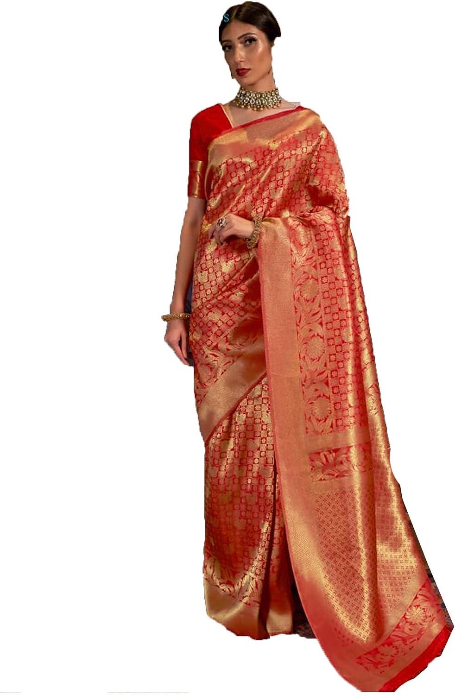 Pujia Mills Women's Multicolor Soft Dress Silk 定番スタイル Wit Weaving 春の新作シューズ満載 Saree