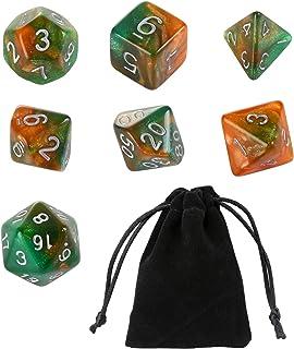 GWHOLEGWHOLE 多面体サイコロ アクリル ダイス 7サイズ クトゥルフ神話TRPG カードゲーム 知育 教育 緑 グリーン