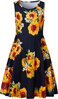 Bfustyle Girl Print Dress, Sleeveless Casual Floral Sundress