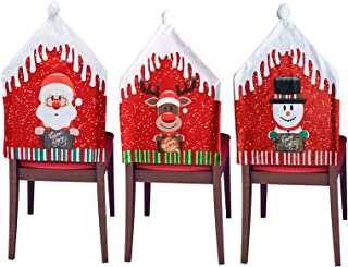 """Christmas Chair Covers Set of 3 Dining Room Chair Slipcovers 18.5""""x22.5 Office Chair Cover Xmas Chair Back Covers for Hote..."""