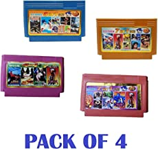Crispy Deals Bit Video Game Cassette Set with Mario, Contra, etc for Kids and Adults. (Pack of 4)