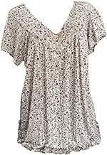 V Neck Blouse Women Plus Size Shirt Short Sleeves Print Pullover Tops White