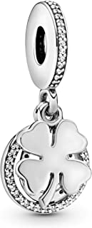 Pandora Jewelry Lucky Four-Leaf Clover Dangle Cubic Zirconia Charm in Sterling Silver