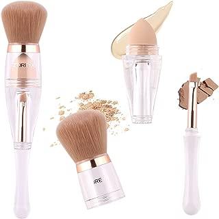 Makeup Brushes Zoreya(TM) 3 in 1 New TRIO Complexion 3x High Efficient Multipurpose Professional Makeup Brushes set Kit with Maximum Application, Bronzer Brush, Blender Sponge (Angled Brow Set)