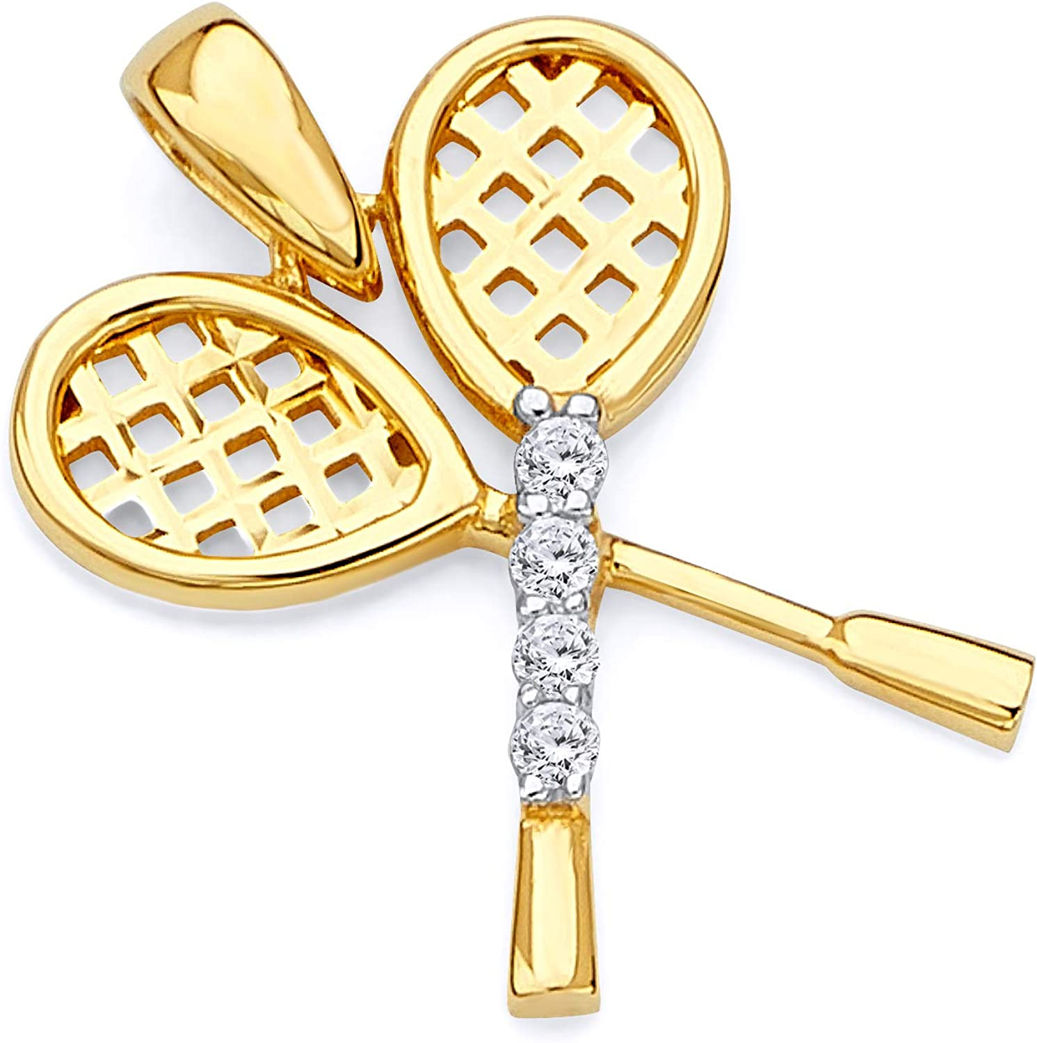 14k REAL Two Tone Gold Tennis Racket Charm Pendant