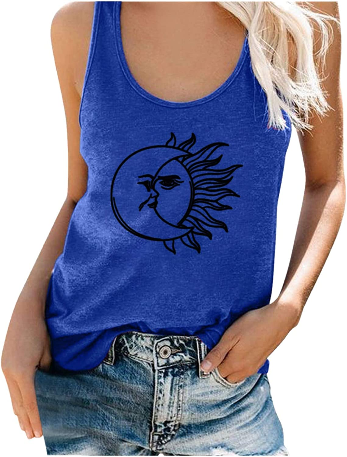 AODONG Tank Top for Womens,Women Sunflower Print Sleeveless Bandages Vest Top Strappy Tank Tops