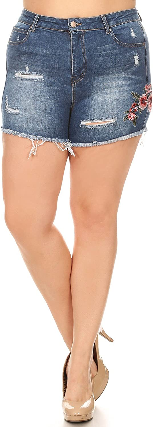 Women's Plus Size High Waist Denim Jean Shorts with Floral Embroidery