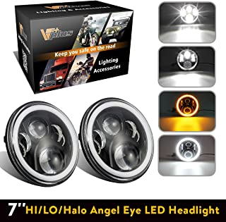 7 Inch LED Headlights Round Headlamp Conversion Kit DLR Light Assembly Compatible with Jeep Wrangler JK TJ FJ, Hummer H2 Trucks Motorcycle Headlamp - Super Bright LEDs lights w/ 2 Adapters (Pair)
