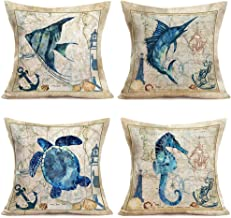 """Hopyeer Rustic Farmhouse Quote Pillow Covers Decorative Cotton Linen Farm Cattle and Deer Animals Pillow Case Cushion Cover with Words for Sofa Couch 18""""x18"""" Set of 4"""