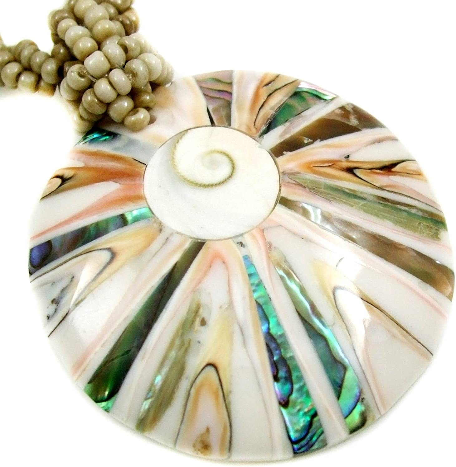 Round Natural Abalone Shell, Cone Shell, Shiva Eye Pendant 18.5 Inches Beads Necklace Handmade Jewelry AA270