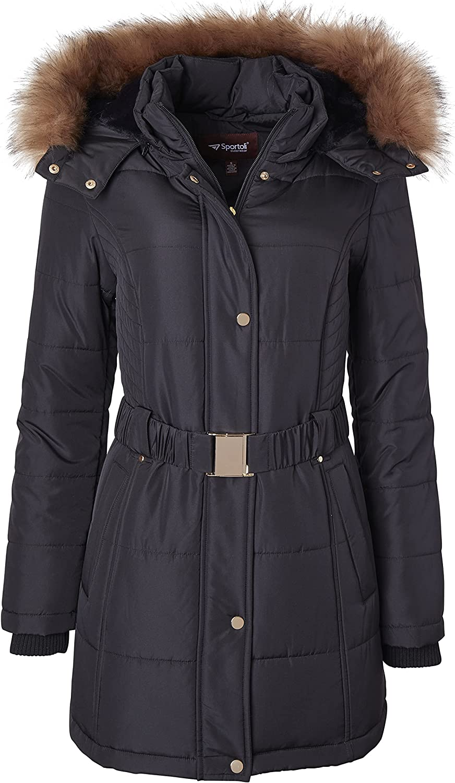 Jackets for Women Down Alternative Parka Longer Winter Puffer Coat with Fur Hood
