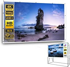 """HD 4K Projector Screen 100"""" 16:9 with Space Saving Stand, High Resolution Projection Screen for Indoor Outdoor Parties Hom..."""