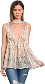 Women's Sexy Sheer Pink with Silver Grey Floral Deep Plunge Sleeveless Slit Back Babydoll Top Blouse