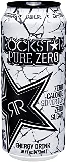 Rockstar Energy Drink Pure Zero Energy Drink, Silver Ice, 16 Fluid Ounce (Pack of 24)