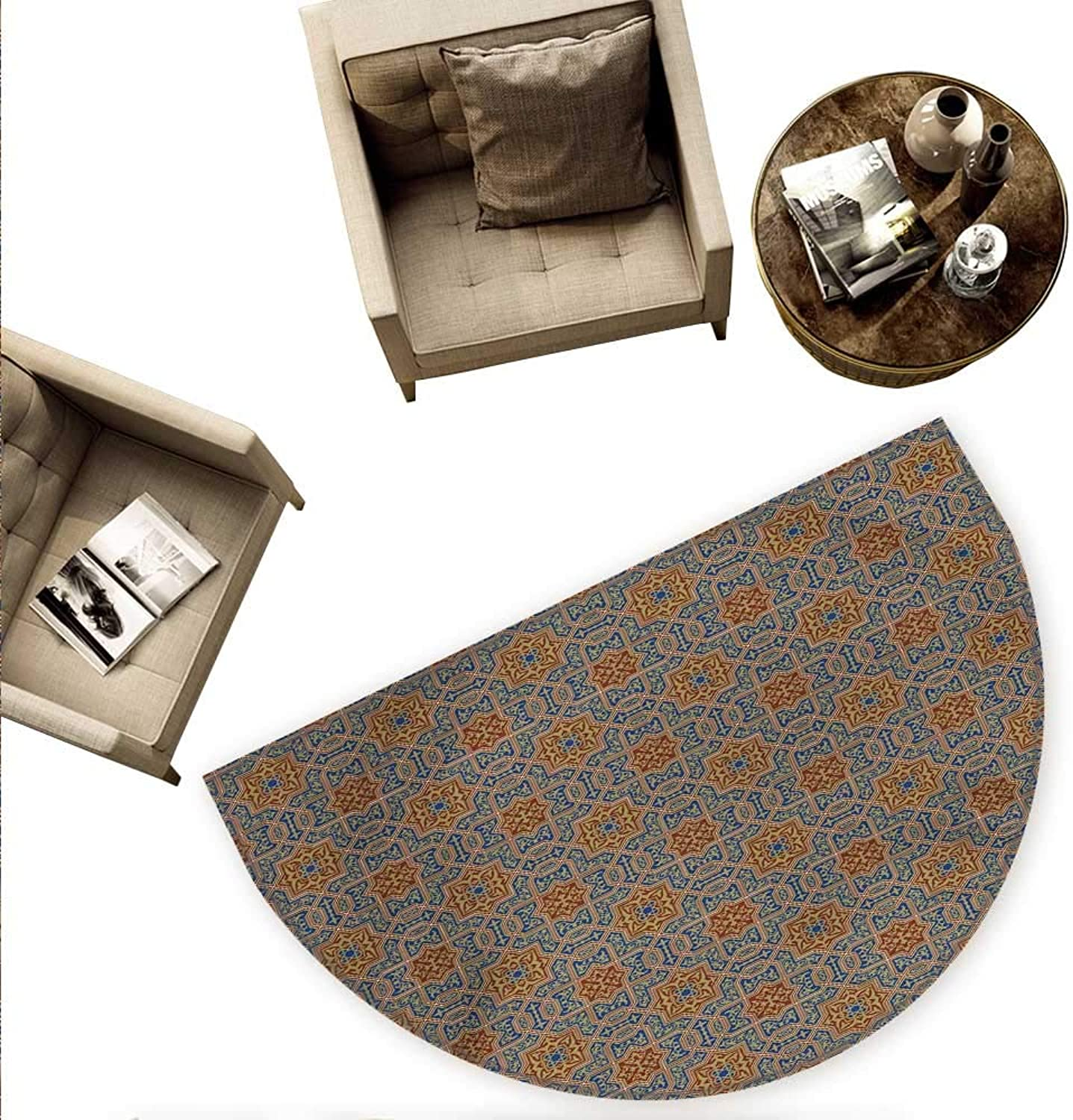 Mgoldccan Semicircular Cushion Traditional Arabic Design Tile with Geometric Floral Motifs Curly Details Entry Door Mat H 70.8  xD 106.3  bluee Sepia Redwood
