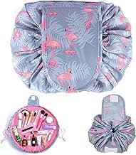 Dokpav Flamingo Makeup Bag Lazy Cosmetic Bag Toiletry Kit Organiser Portable Waterproof Large Capacity Drawstring Portable Travel Storage Bag for Women Girls (B)