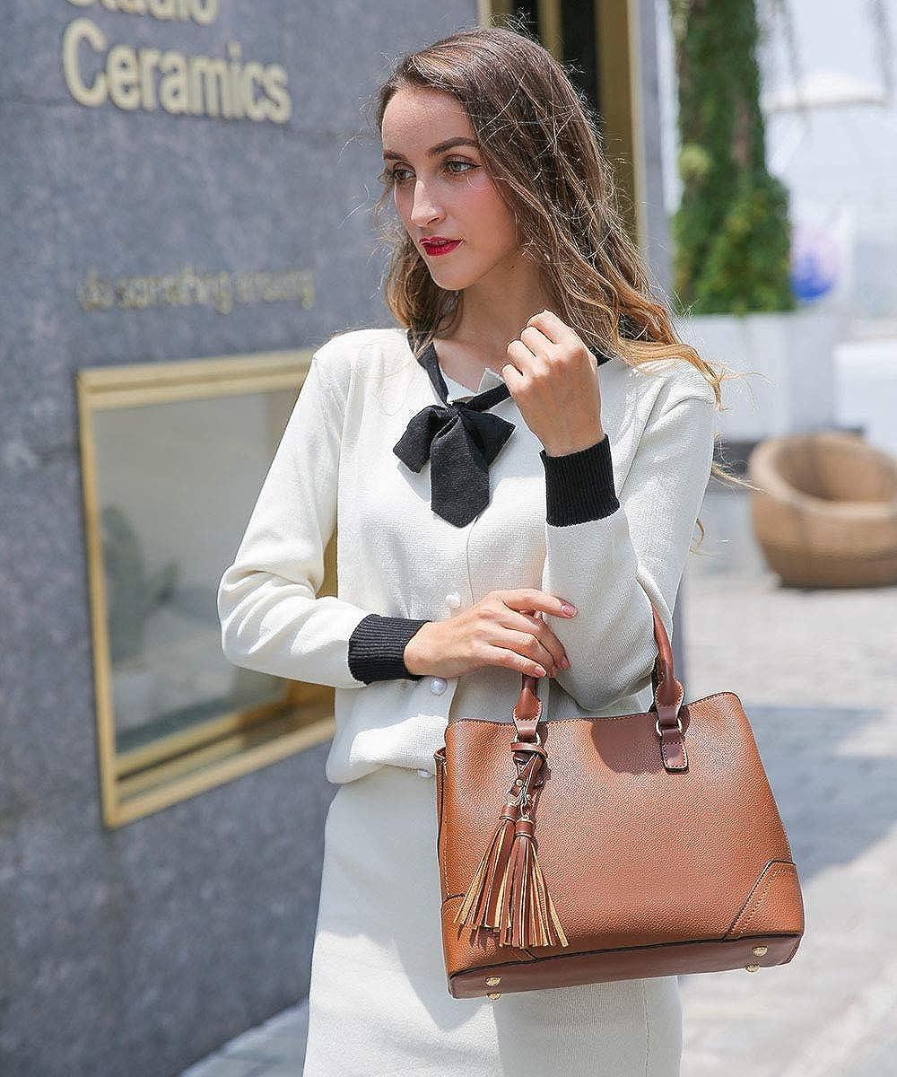 CATMICOO Satchel Handbags for Women Purses Ladies Shoulder Bag with Detachable Double Tassels
