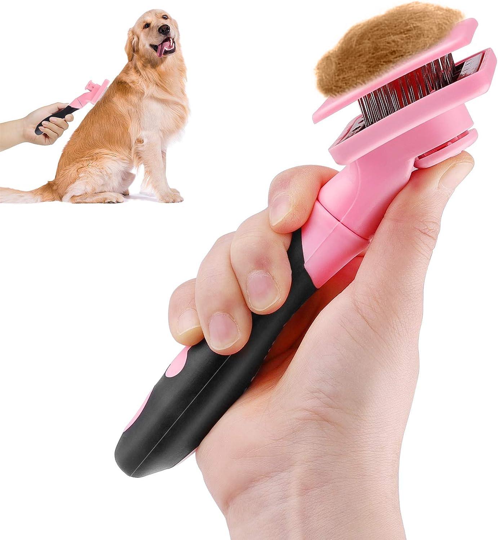Makerfire Cepillo para Perros o Gatos de Pelo Largo o Corto para Limpiar Mascotas Medianas Y Grandes-Rosa