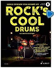 Rock's Cool DRUMS - Las canciones se reproducen desde el principio. Schott Music ED23060 9783795706227 - Libro de aprendizaje para batería con audio en línea y pinza en forma de corazón