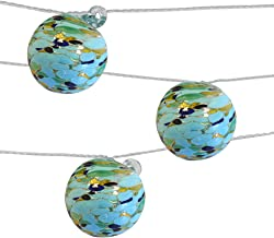 Allsop Home and Garden Aurora Glow Handblown Glass Solar String Lights, (6) Hand-blown Artisan Globes with Copper Hanging Hooks, Weather-Resistant for Year-Round Outdoor Use, (Blue/Green Sea Glass)